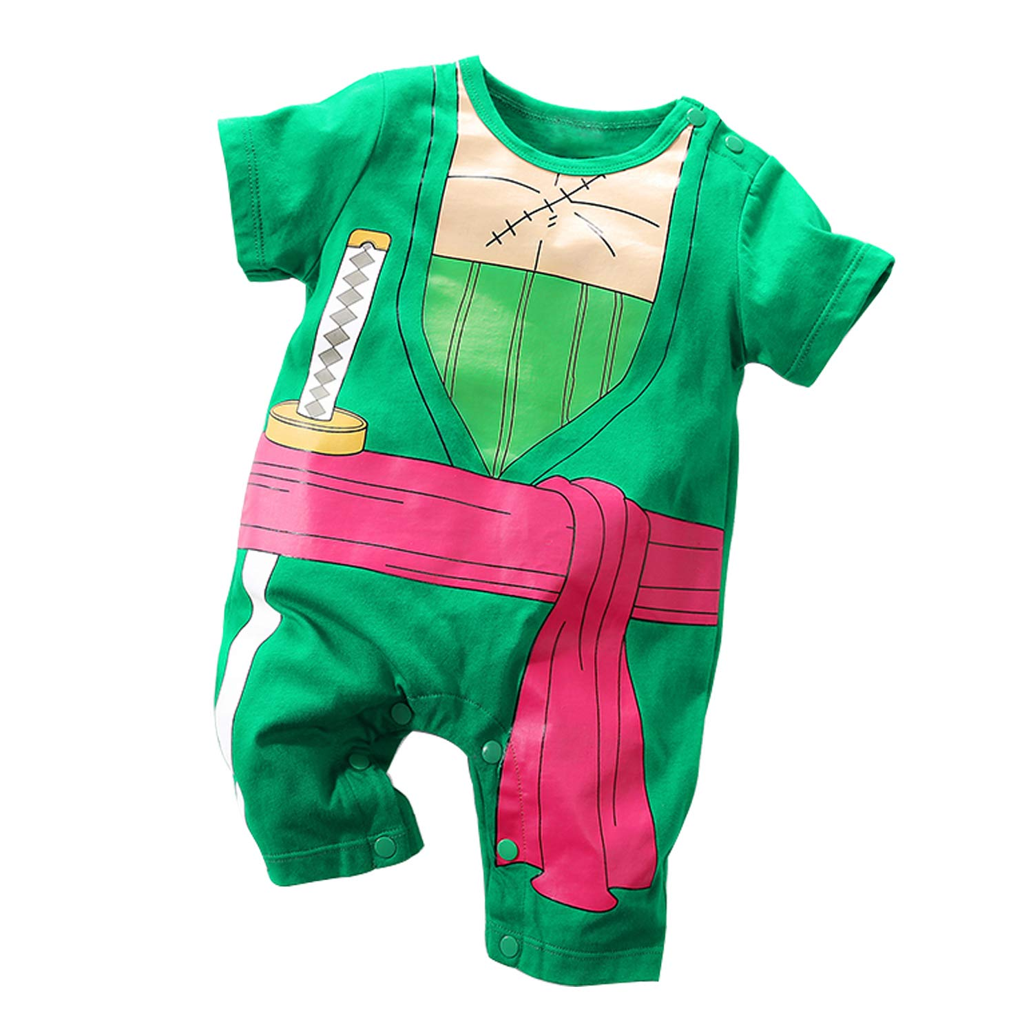 YFYBaby Newborn Baby Clothes Cosplay One Piece Luffy Sulong Lovely Short Sleeve Cartoon Romper Baby Rompers