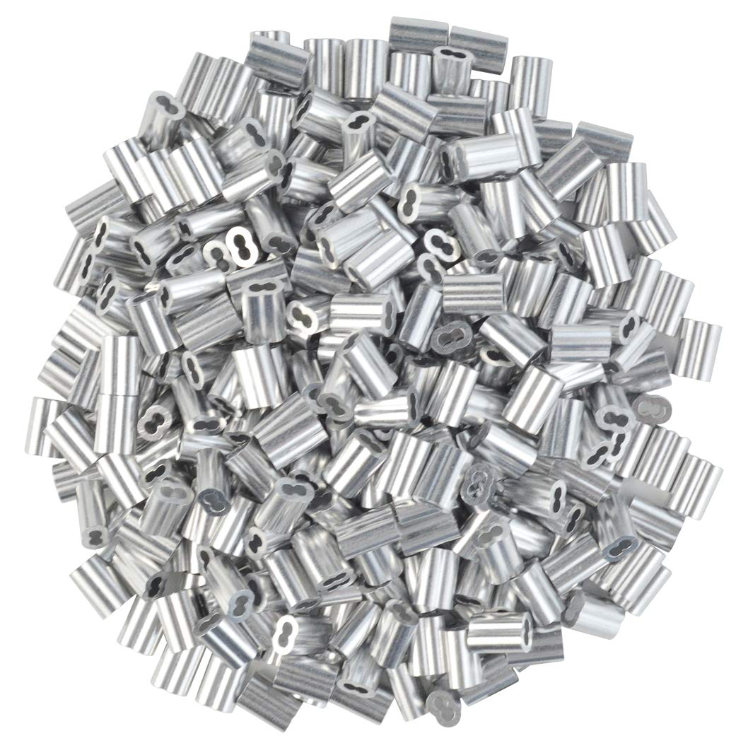 800pc 1/16'' Cable Ferrule Aluminum Crimping Loop Sleeve Crimping Loop Sleeve Wire Rope Sleeves Crafts Duplex Oval Compression Ferrules for Hanging and Securing Wire Rope and Cable (1/16 inch)