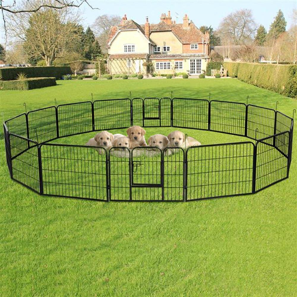 """go2buy 16 Panels Dog Playpen Metal Pet Puppy Cat Exercise Fence Barrier 24"""" Tall"""