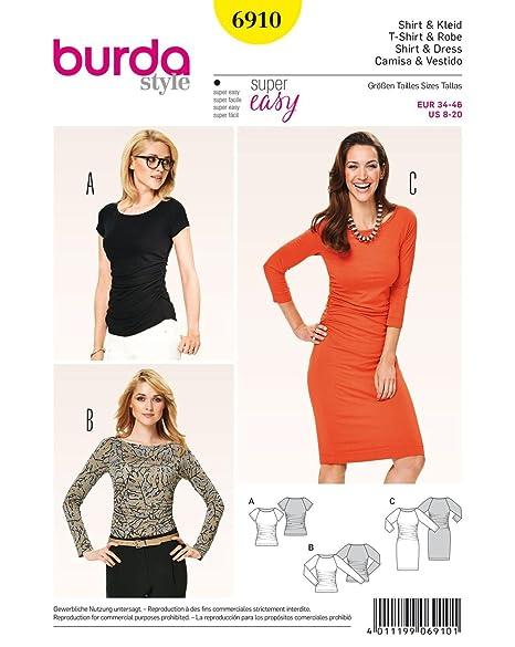 850d3ee9 Burda b6910 T-Shirt and Dress Sewing Pattern 19 x 13 cm: Amazon.co.uk:  Kitchen & Home