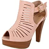 Guilty Shoes Womens Cutout Gladiator Ankle Strap Platform Fashion High Heel Stiletto Sandals