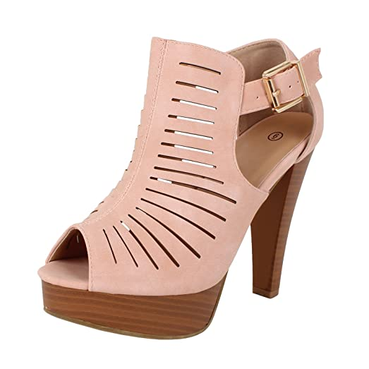 Amazon.com | Guilty Shoes Cutout Gladiator Ankle Strap Platform ...