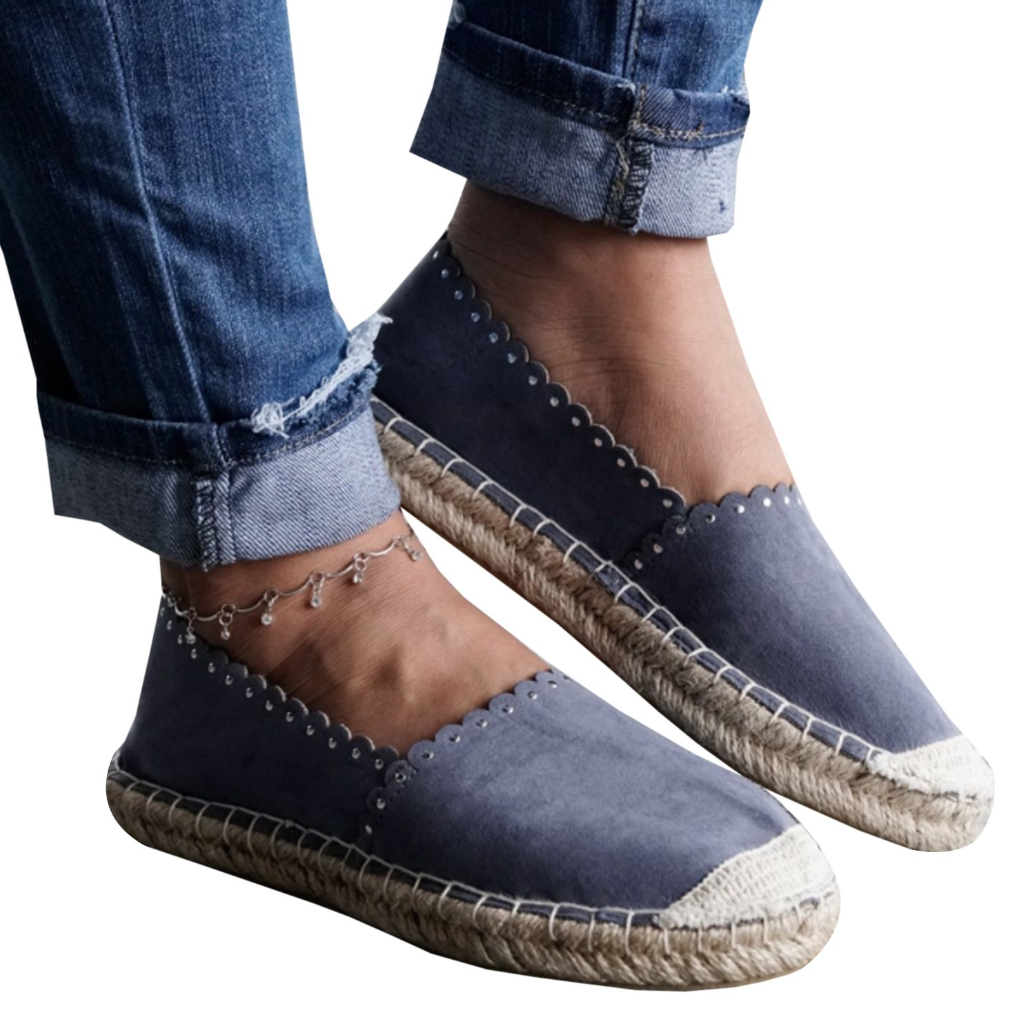 Women's sneaker casual fashion Canvas Shoes loafer slip-on Espadrille flat lace cut out summer shoes by LAICIGO (Image #2)