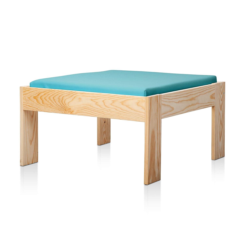 SUENOSZZZ - Sofa Jardin de Madera de Pino Color Natural, MEDITERRANEO Mod. chaiselonge, Sillon cojín Polipiel Color Turquesa. Muebles Jardin Exterior. ...