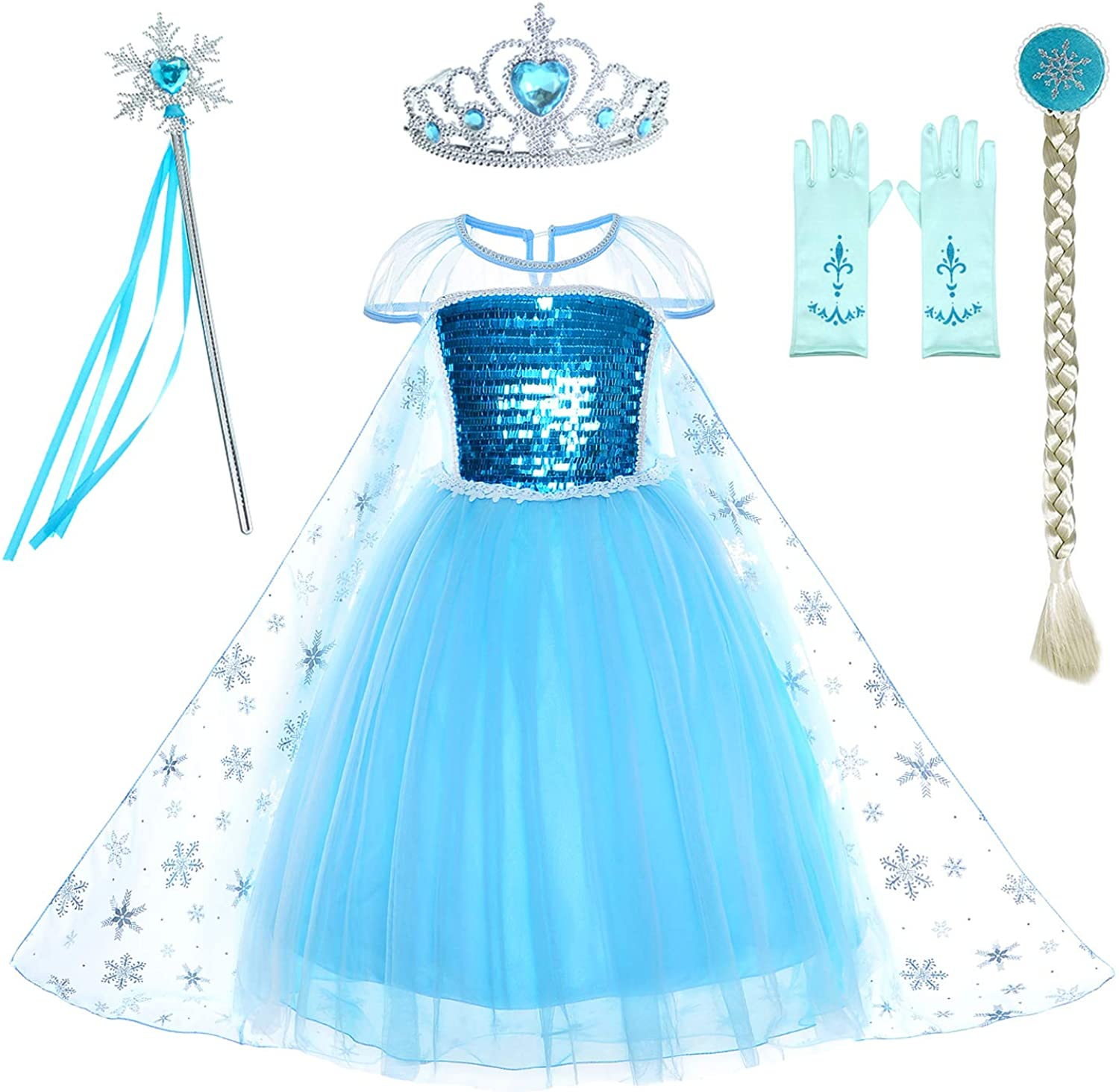 Party Chili Princess Costumes Birthday Dress Up for Little Girls with  Crown,Mace,Gloves Accessories 6-6 Years