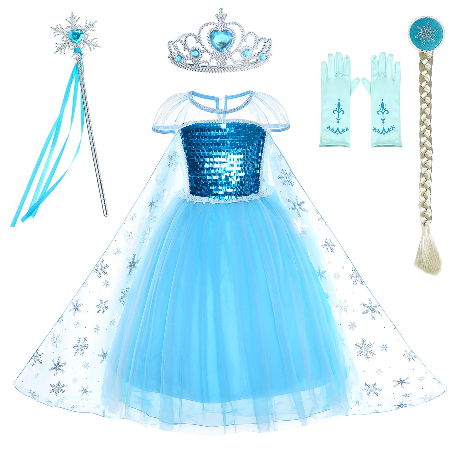 Snow Queen Princess Elsa Costumes Birthday Dress Up For Little Girls with Crown,Mace,Gloves Accessories 6-7 Years(130cm)