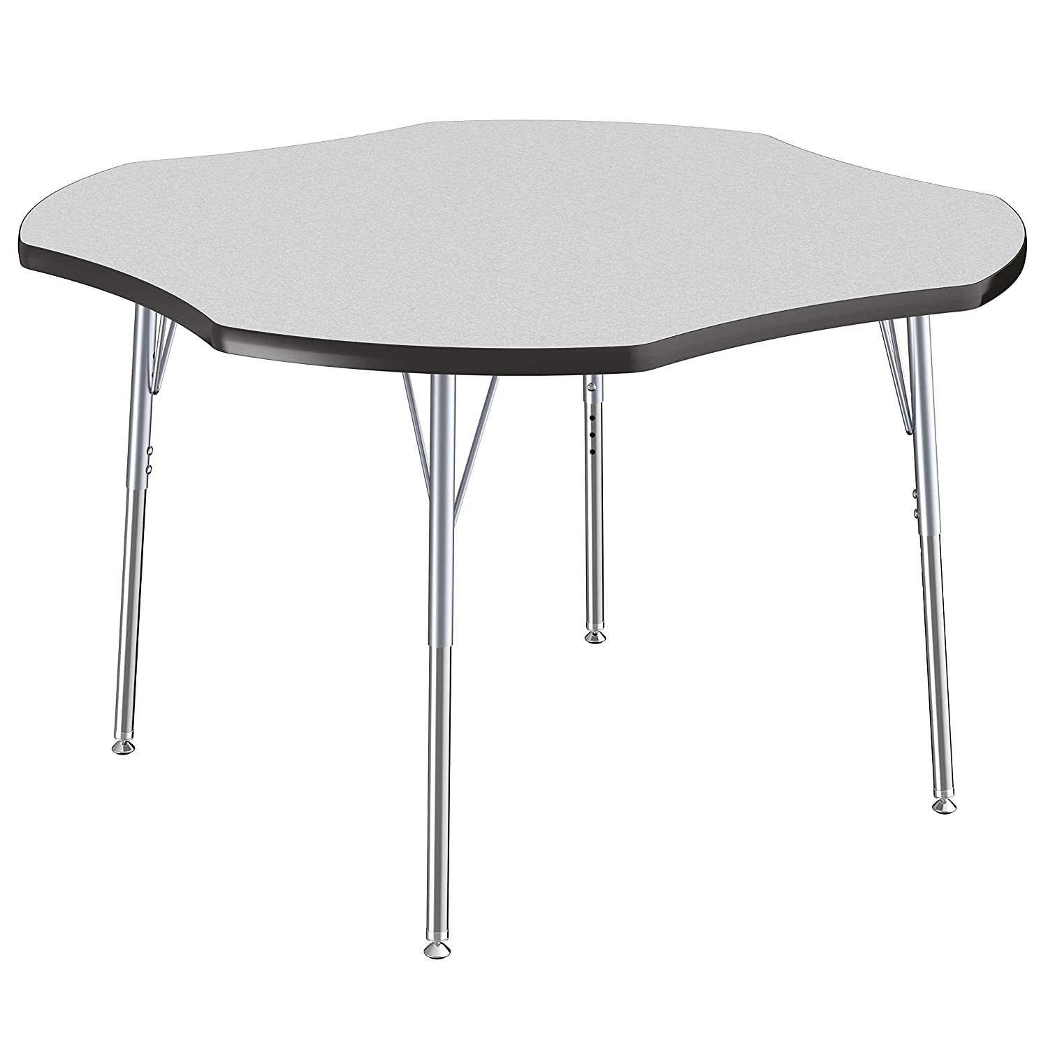 FDP Clover Premium Contour Activity School and Office Table Adjustable Height 19-30 inches Maple Top and Light Gray Edge 48 x 48 inch Standard Legs with Swivel Glides for Collaborative Spaces