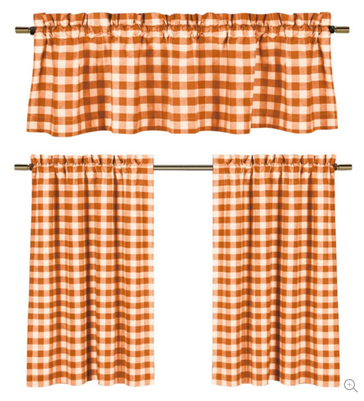 Plaid Country Chic Cotton Blend Kitchen Curtain Tier & Valance Set - Assorted Colors Orange