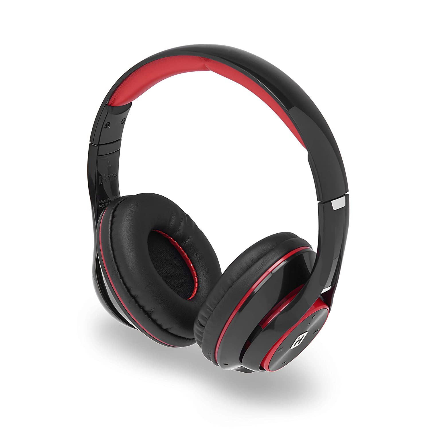 iHome Bluetooth Headphones with Microphone, Comfortable Over Ear with Extended Battery Life, Remote Control, Rich Detailed Sound Travel Work, Black Red IB90