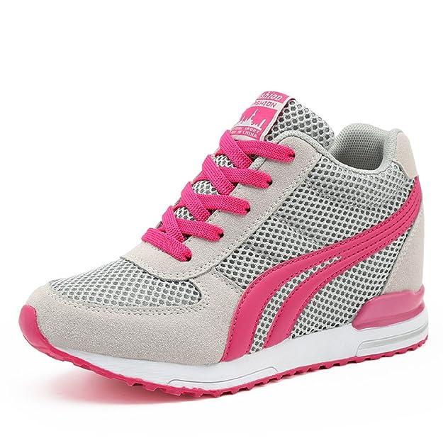 AONEGOLD® Zapatillas de Cuña para Mujer Zapatillas de Deporte Zapatillas Altas Primavera/Verano Tacón Cuña 7CM(Negro,34 EU): Amazon.es: Zapatos y complementos