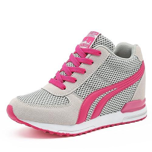 LILY999 Sneakers mit Keilabsatz Damen Wedges Turnschuhe Atmungsaktive Sportschuhe Freizeitschuhe