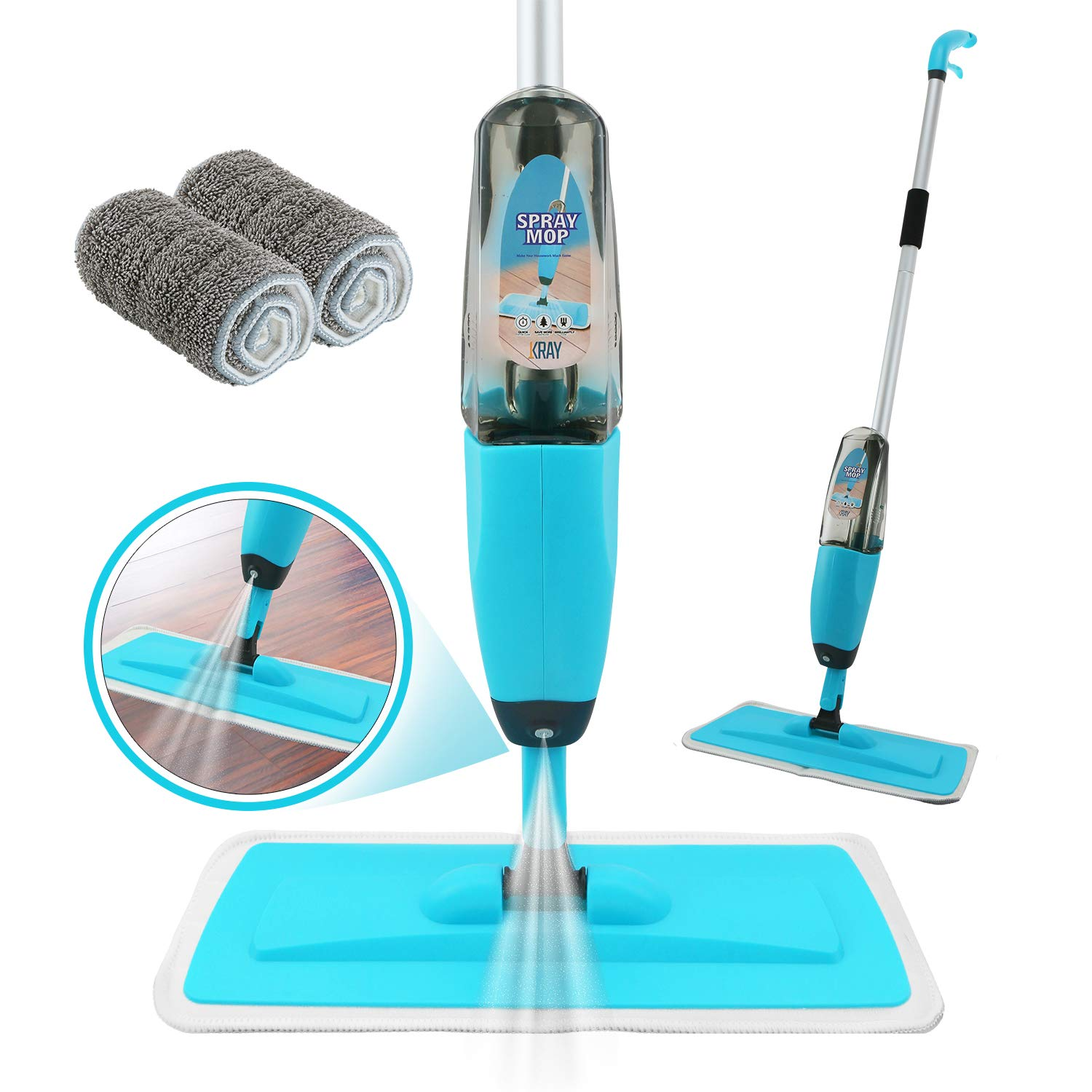 Spray Mop Strongest Heaviest Duty Mop - Best Floor Mop Easy To Use - 360 Spin Non Scratch Microfiber Mop With Integrated Sprayer - Includes Refillable 700ml Bottle & 2 Reusable Microfiber Pads by Kray by Kray (Image #9)