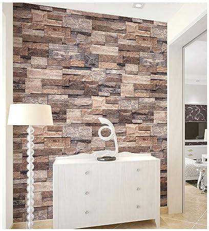 Haokhome 3302 Faux Stone Wallpaper 3d Brick Wallpaer 20 8 X 374 Tan Brown Grey Brick For Home Decorative