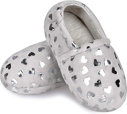 MIXIN Boys Slippers Kids Cute Soft Anti Slip House Slippers Memory Foam Shoes