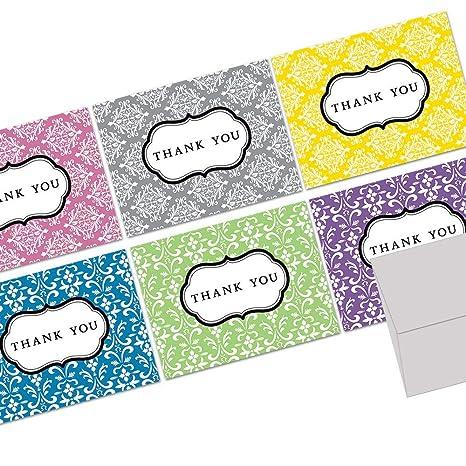 Amazon.com: Damasco Gracias Nota Tarjetas – 36 tarjetas de ...