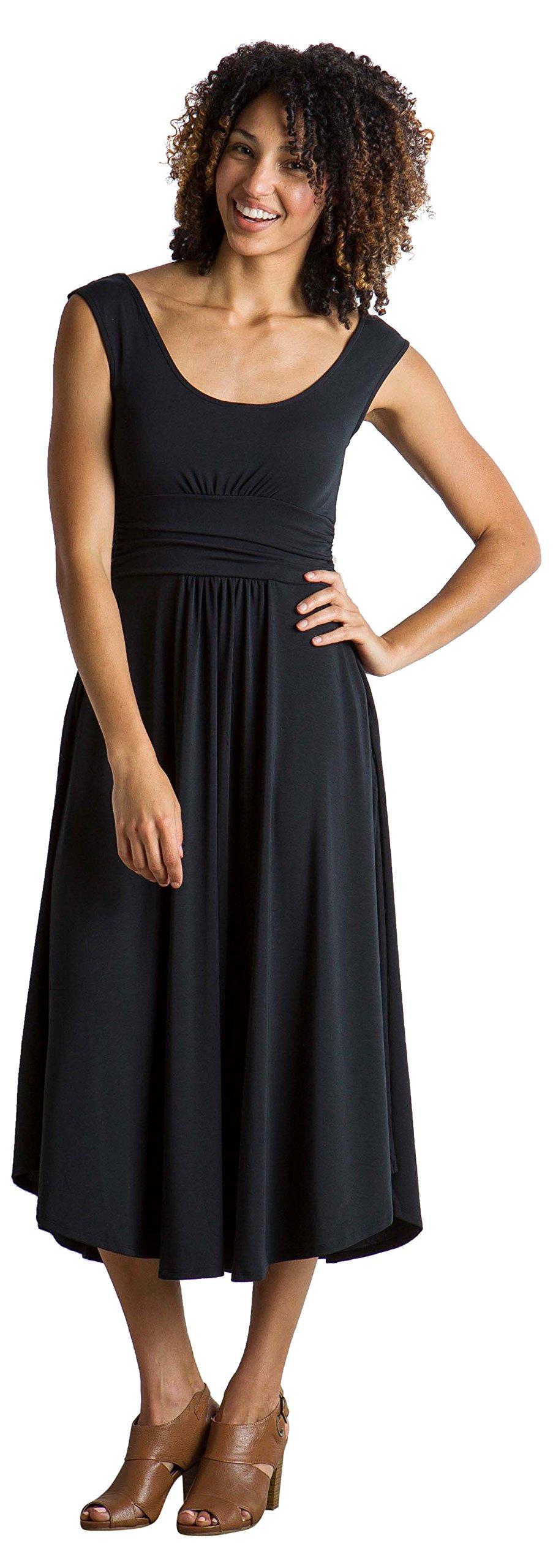 ExOfficio Women's Wanderlux Cap Sleeve Midi Dress, Black, Medium