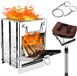 WADEO Wood Burning Camp Stove, Stainless Steel Folding Camp Stove, Portable Backpacking Wood Stove for Outdoor Cooking, Picnic and BBQ