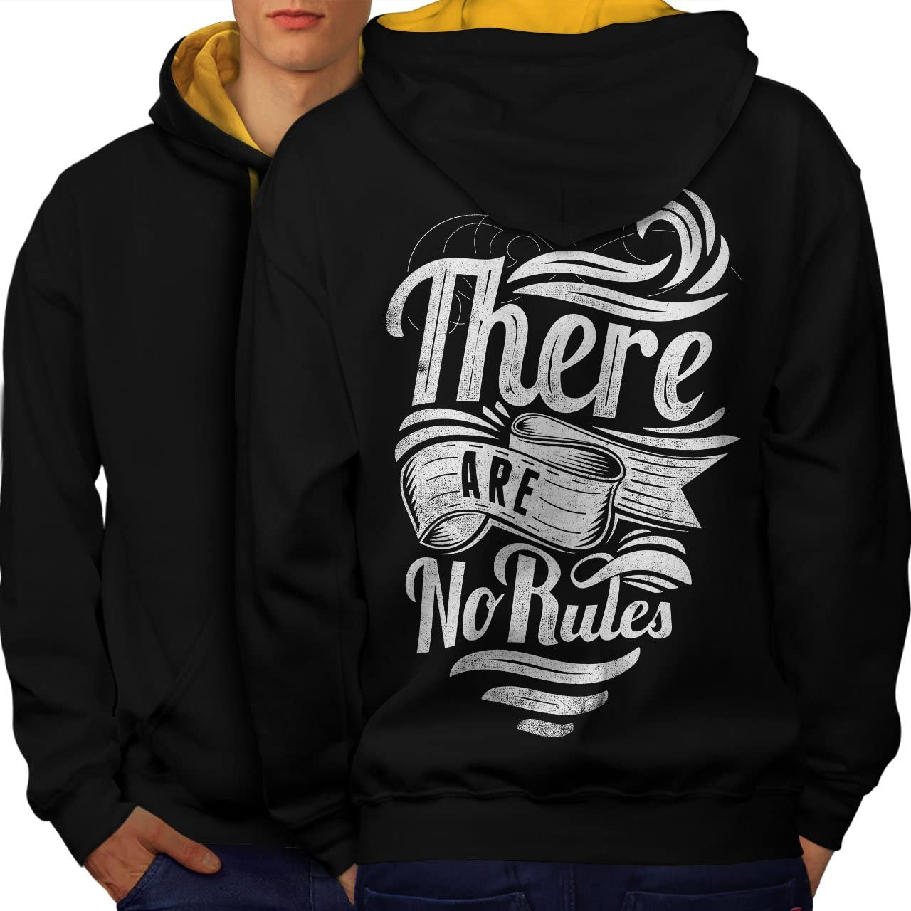 wellcoda There are No Rules Mens Contrast Hoodie Outlaw Print on The Back
