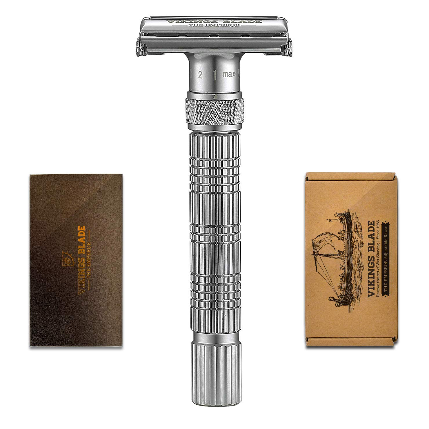 VIKINGS BLADE The Emperor Adjustable Safety Razor (Frosted Chrome)