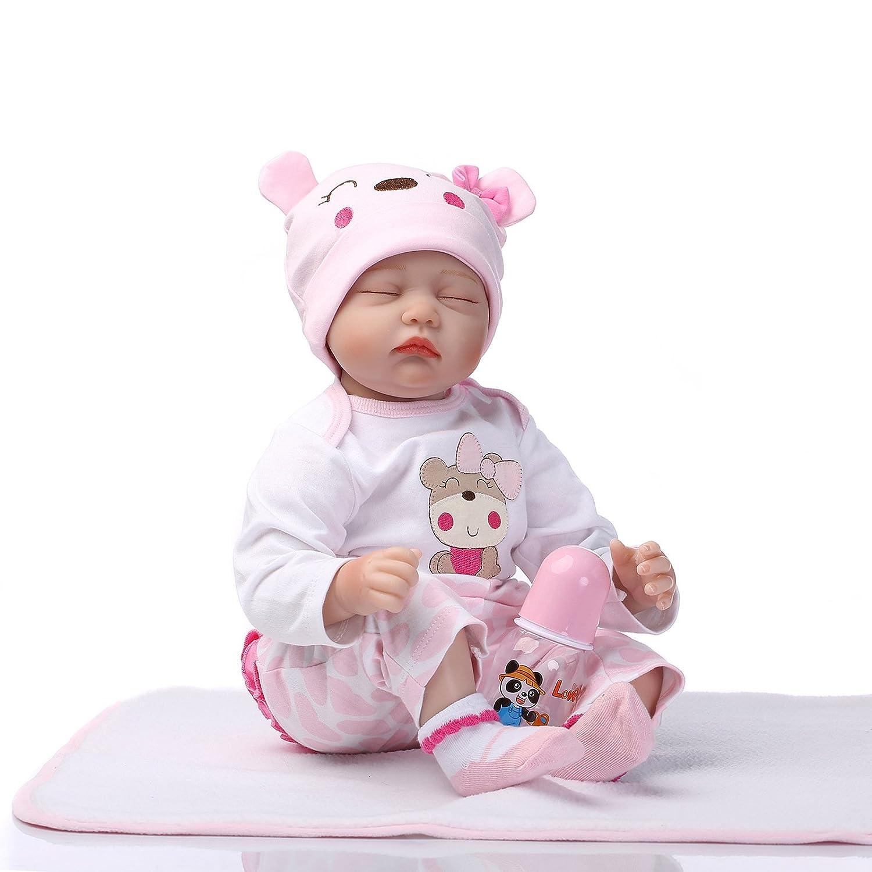Homesave Babypuppe Simulation Silikon 55Cm Mit Augen Geschlossen Acryl Eye Halloween Weihnachtsgeschenk