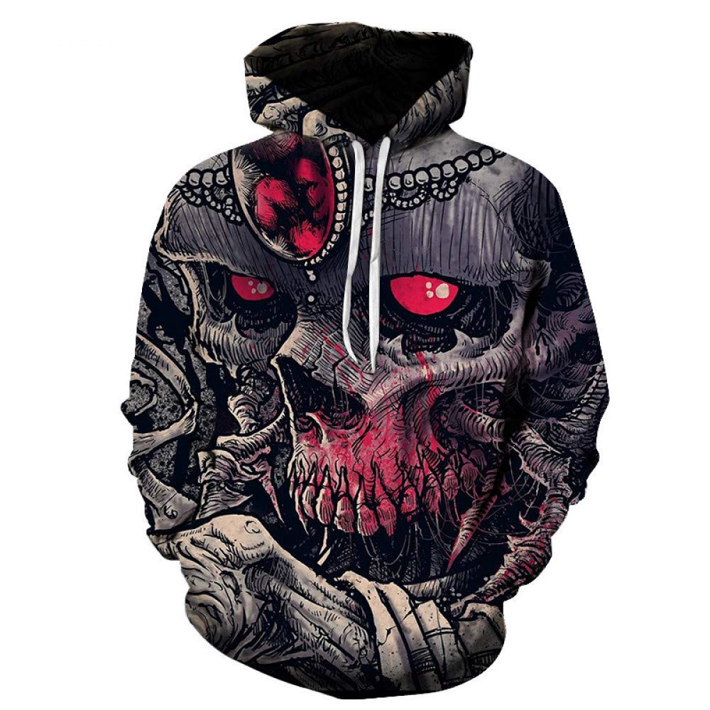 WEIYI203 XL 3D Hoody Coat Outwear Blouse Fashion Coat Winter Jacket with hat Red Eye Digital Print Hooded Couple Sweater