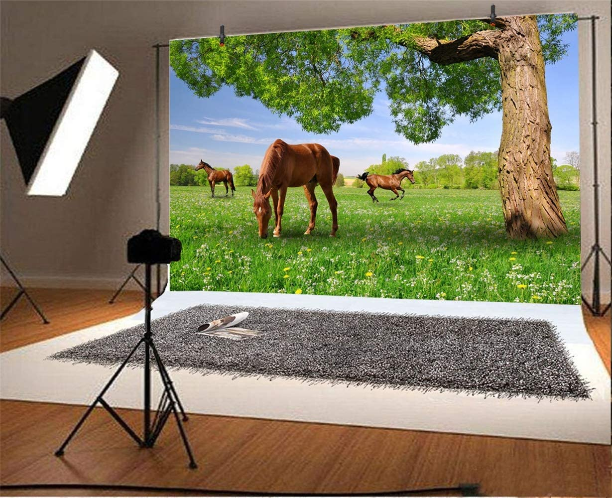7x5ft Spring Wild Landscape Backdrop Natural Scenic Polyester Photography Background Horses Tree Green Grassland with Florets Clear Weather Post Card Wedding Photo Studio Prop