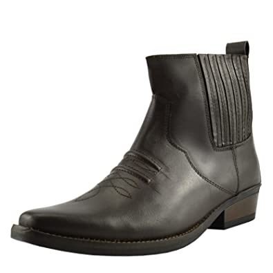 350fad55aa8 Bottines à talons cubains en cuir western cowboy bottes pour hommes - UK 6    EU