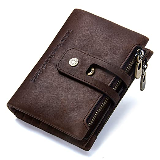 Mens Genuine Leather Bifold Double Zipper Coin Pocket Purse Wallet Coffee