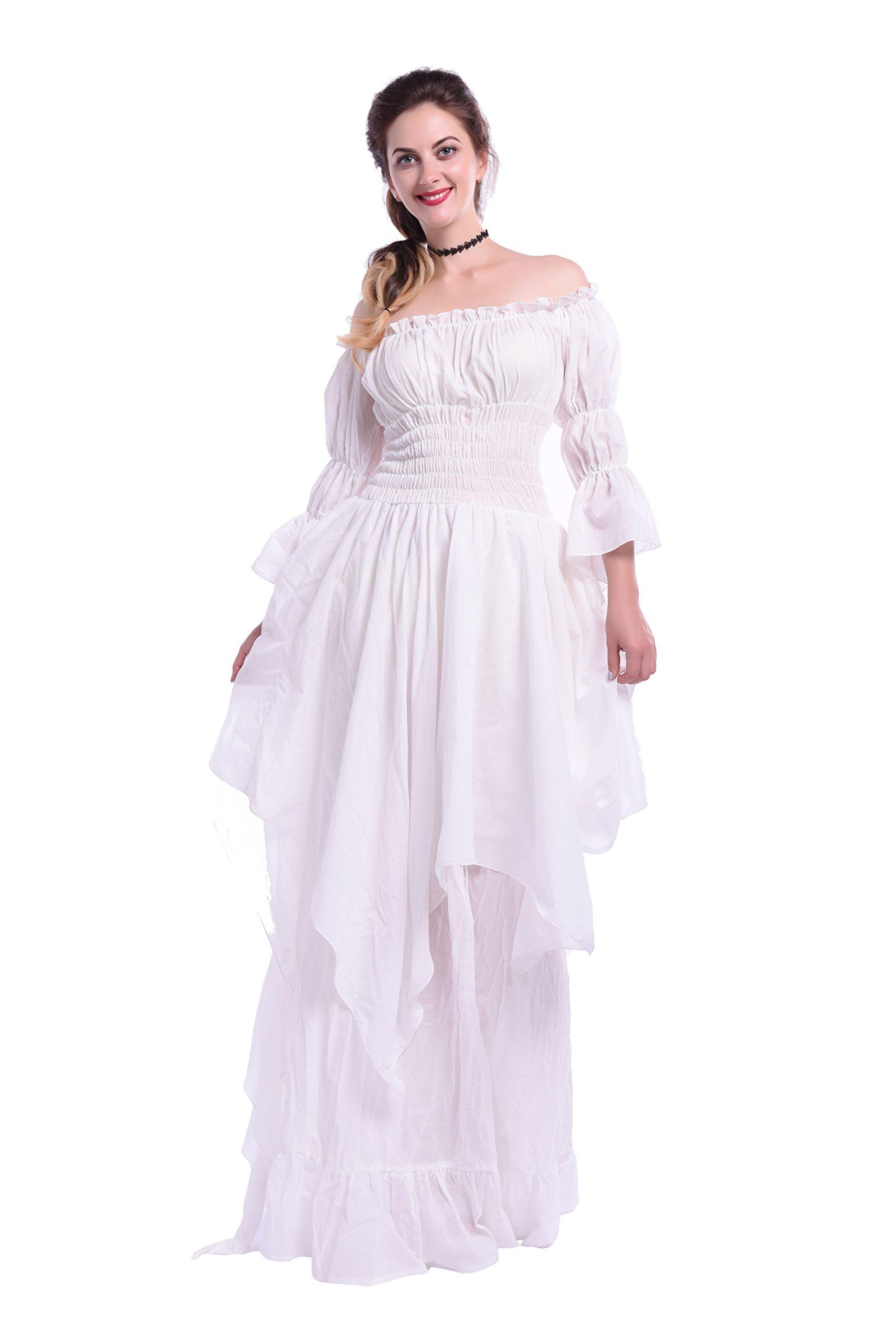 NSPSTT Womens Renaissance Dresses Irregular Sleeves Smocked Waist Tiered Maxi Dress (Large, White-2)