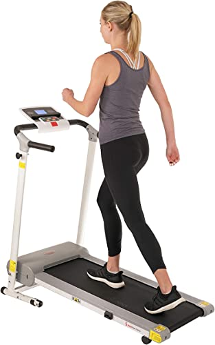 Sunny Health Fitness Easy Assembly Motorized Walking Treadmill, White