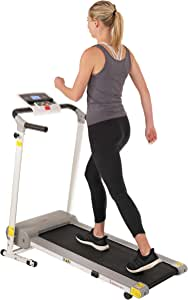 Sunny Health & Fitness SF-T7610 Electric Walking Folding Treadmill with LCD Display and Device Holder, 220 LB Max Weight, White