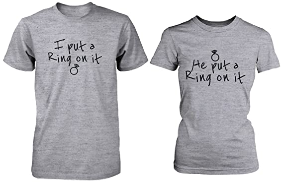 eea20a9a1c Ring On It Couple Tee His and Hers Wedding Shirts Engagement Matching  T-shirts