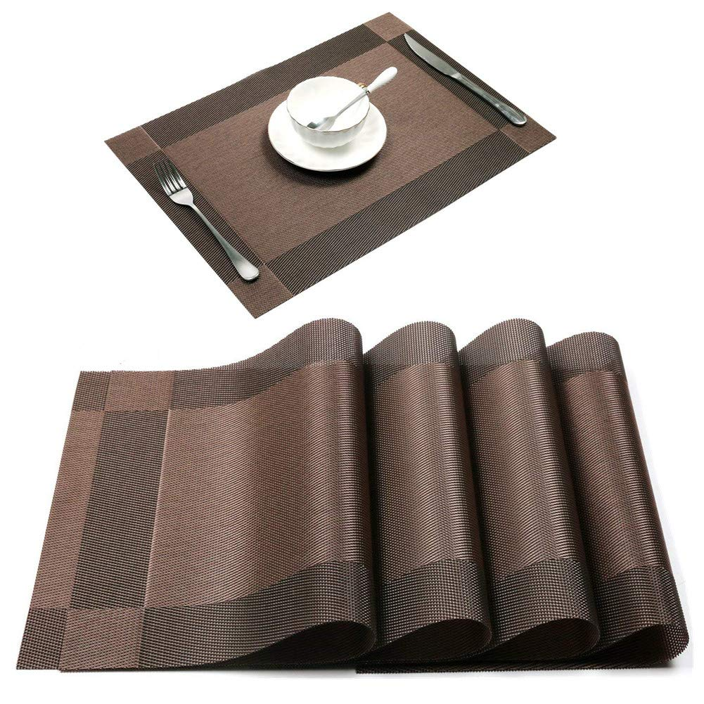 Vinyl Square PVC Placemats 4 Set Wipeable Outdoor Rustic Heat-resistant Stain Resistant Anti-skid Washable Wine Dining Table Kitchen Placemats (Brown)
