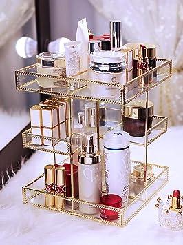 Tocador giratorio caja de maquillaje transparente Mesa de cristal ...