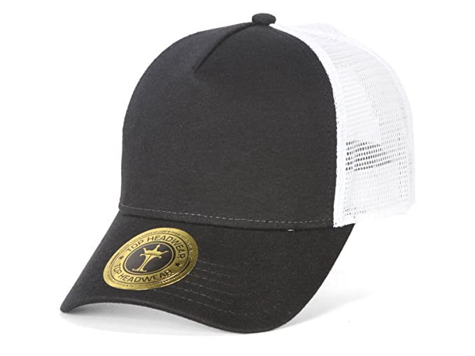 23c24dd1 TopHeadwear Jersey Knit Five Panel Pro Style Mesh Back Caps, Black/White