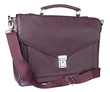 e3027d7051853 Echtleder Aktentasche Laptoptasche Umhängetasche für Büro Business Uni  Travel rot braun