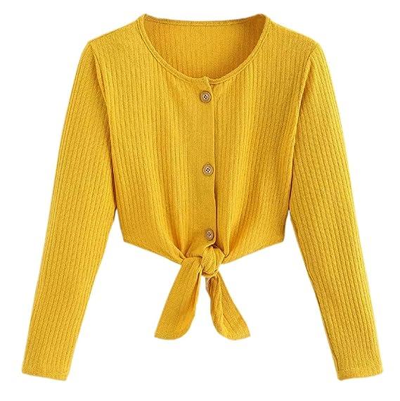 Luckycat Las Mujeres de Moda de Manga Larga del botón del Vendaje Casual Top Blusa Crop Tops Camisa: Amazon.es: Ropa y accesorios