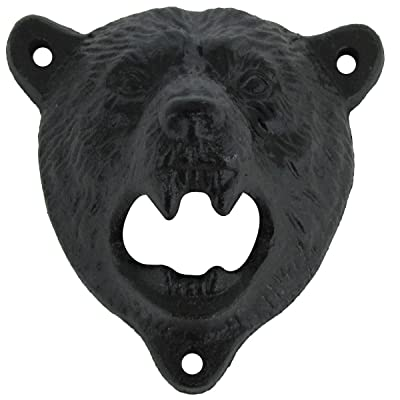 Cast Iron Wall Mount Grizzly Bear Teeth Bite Bottle Opener