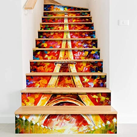 Pegatinas de escaleras Etiqueta engomada de la escalera Torre de la ciudad Renovación de bricolaje Pegatinas de escalera creativas Pegatinas de pared autoadhesivas 3D a prueba de agua Decoración de mu: Amazon.es: