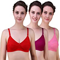 Alzy Full Coverage Non Padded Daily Use Bra Pack of 3_Assorted Color 04-P3