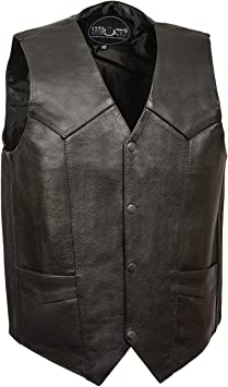 M-BOSS MOTORCYCLE APPAREL-BOS13516T-BLACK-Men/'s tall size concealed carry classic biker leather vest.-BLACK-X-LARGE-TALL