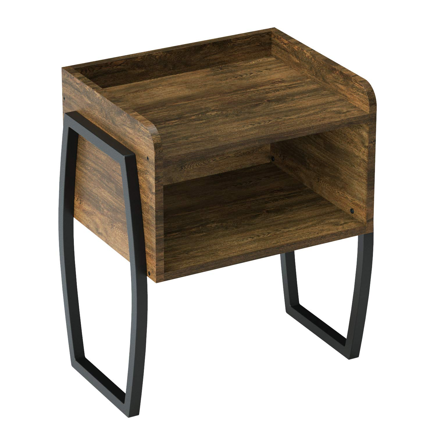 Vintage Nightstand, Side End Table for Small Spaces, Cabinet for Storage, Dark Walnut
