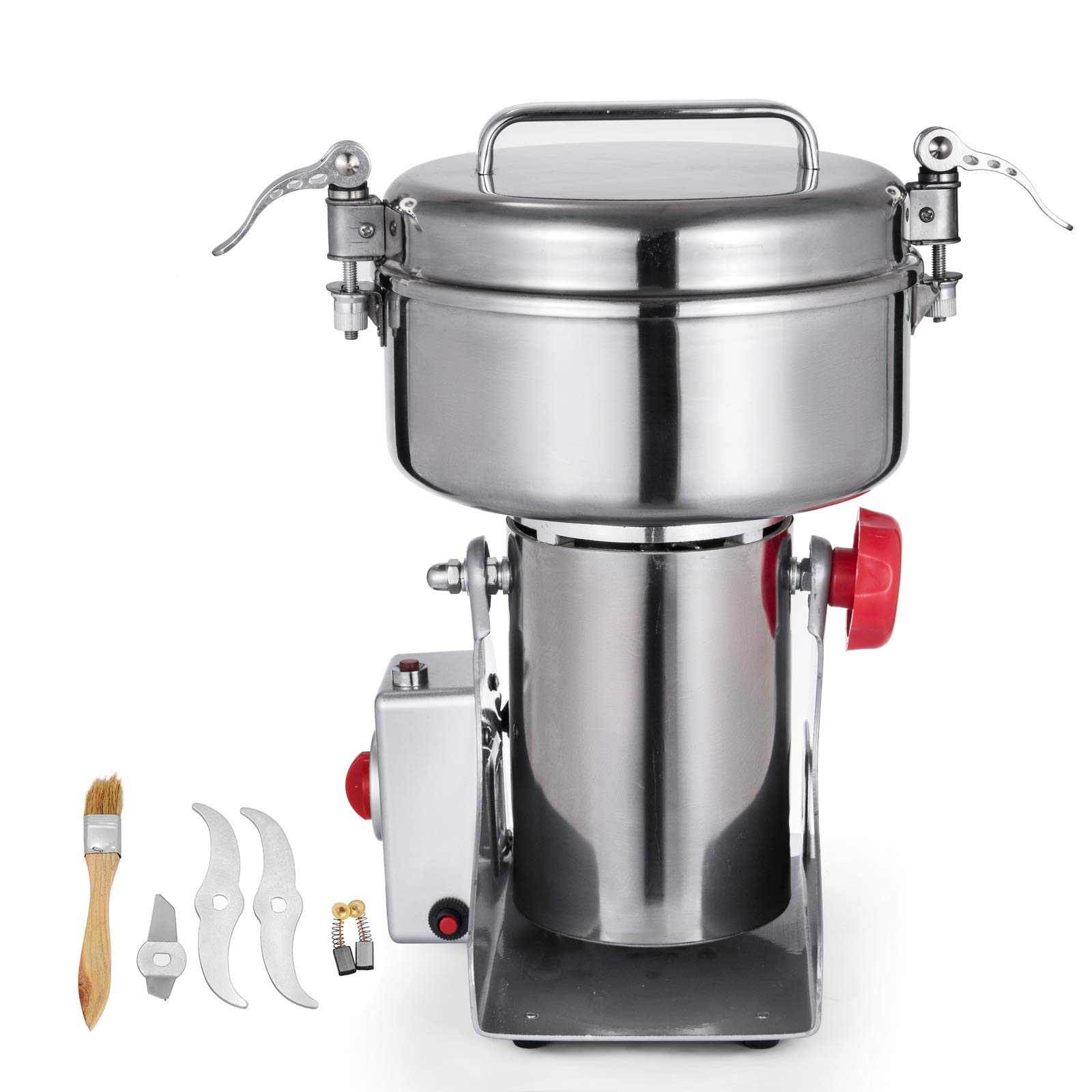 Mophorn Electric Grain Mill Grinder Powder Machine 50-300 Mesh Food Grade Stainless Steel for Kitchen Herb Spice Pepper Coffee (1000g, Electric Grain Grinder)