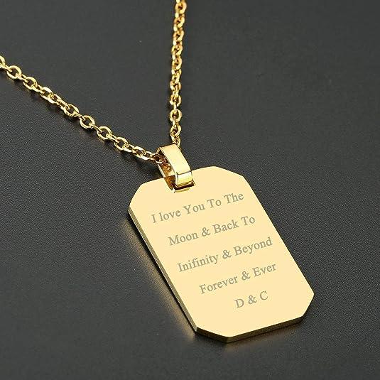 438AH Unisex Halskette Kettenanhänger Edelstahl 438AH Gratis Gravur