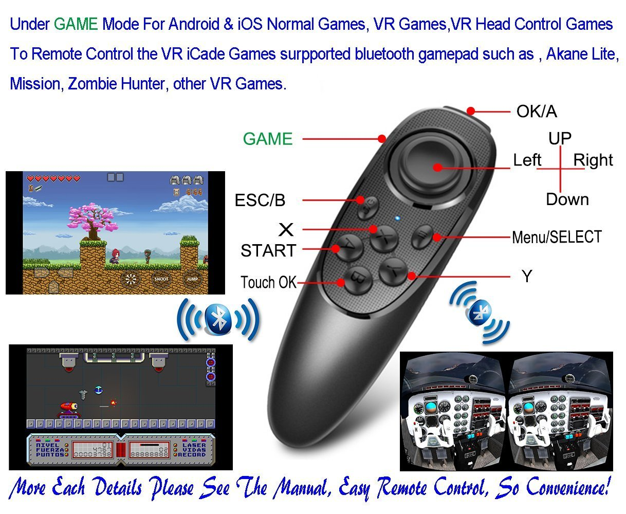 VR Remote Controller Gamepad Bluetooth Control VR Video, Film, Game, Selfie, Flip E-book/PPT/Nook page, Mouse, in Virtual Reality Headset 3D Glasses PC Tablet laptop Samsung Gear VR iPhone Smart Phone by VR EMPIRE (Image #2)