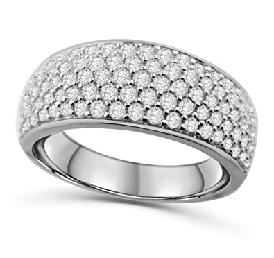 14k White Gold Mens Wedding Band Ring Extra Wide 10mm 1 50ctw Diamonds Round Domed Ring