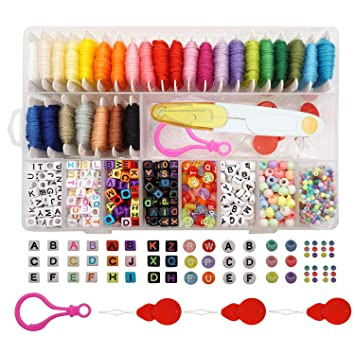 d406b266c6041 Peirich Friendship Bracelet Making Beads Kit, Letter Beads,22 Multi-Color  Embroidery Floss Over 1900pcs
