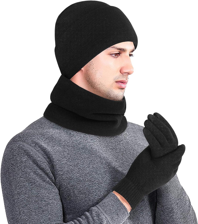 Écharpe avec bonnet et gants Noir Moelleux Polaire Set bwi