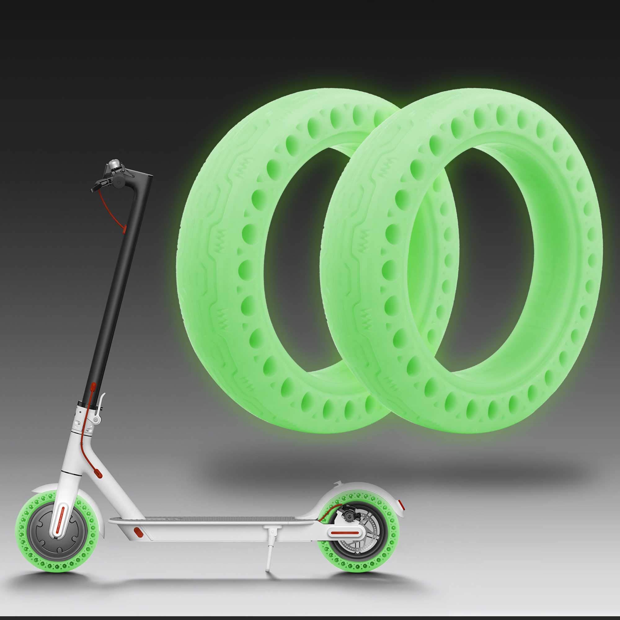 TOMALL Honeycomb Rubber Solid Tire 8.5 Inch Fluorescent Tire Tubeless Solid Tyre 2PCS for Xiaomi M365 Electric Scooter