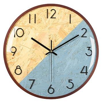 Likeluk 12 Pulgadas Estilo sin Tic TAC Reloj de Pared Moderno nórdicos Reloj de Pared para salón Cocina Oficina, Azul, 30 * 30 * 5 cm: Amazon.es: Hogar